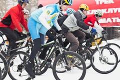 Riciclaggio di inverno    bicicletta Fotografie Stock
