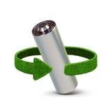 Riciclaggio le batterie e degli accumulatori Concetto con le frecce verdi dall'erba Riciclaggio del concetto Immagine Stock