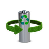 Riciclaggio le batterie e degli accumulatori Concetto con le frecce verdi dall'erba Riciclaggio del concetto Immagini Stock