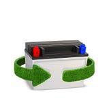Riciclaggio le batterie e degli accumulatori Concetto con le frecce verdi dall'erba Riciclaggio del concetto Isolamento su bianco Fotografia Stock Libera da Diritti