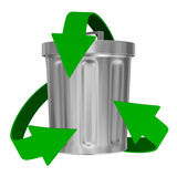 Riciclaggio le frecce e del cestino dell'immondizia Fotografia Stock Libera da Diritti