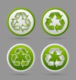 Ricicli i distintivi di simbolo Fotografia Stock Libera da Diritti