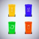 Ricicli i recipienti con i simboli Immagine Stock