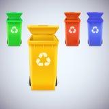 Ricicli i recipienti con riciclano il segno Immagini Stock