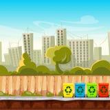 Ricicli i secchi della spazzatura con il fondo di paesaggio urbano Concetto della gestione dei rifiuti royalty illustrazione gratis