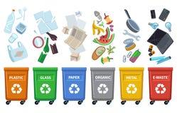 Ricicli i secchi della spazzatura I tipi differenti dei rifiuti colorano i contenitori che ordinano la bottiglia di plastica di v illustrazione vettoriale