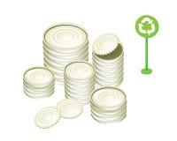 Barattoli di latta o dell'alluminio e simbolo di riciclaggio Immagine Stock