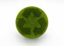 Ricicli il globo dell'erba Immagine Stock