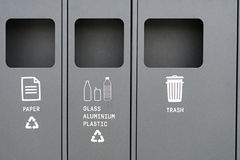 Ricicli il recipiente per la separazione dei rifiuti per la gestione dei rifiuti Fotografie Stock