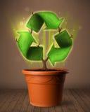 Ricicli il segno che cresce dal vaso da fiori Fotografia Stock