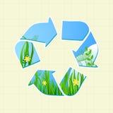 Ricicli il segno con erba ed il cielo royalty illustrazione gratis