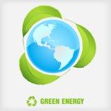 Ricicli il simbolo, energia verde Fotografia Stock