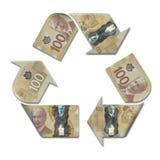 Ricicli il simbolo fatto con i dollari canadesi Immagine Stock