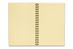 Ricicli il taccuino di carta aprono due pagine isolate Fotografia Stock