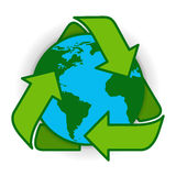 Ricicli il verde Logo Web Icon di simbolo del globo della terra Fotografie Stock