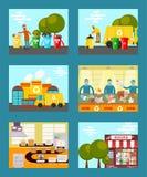 Ricicli l'immondizia, illustrazione di risparmio di vettore delle carte di concetto dell'ecologia I rifiuti di lancio della gente illustrazione vettoriale