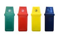 4 ricicli l'isolato del recipiente su fondo bianco Fotografie Stock