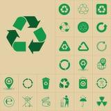 Ricicli le frecce residue Logo Set Web Icon Collection di verde di simbolo Immagini Stock Libere da Diritti