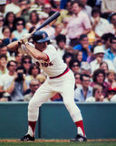 Rick Burleson, Boston Red Sox. Boston Red Sox SS Rick Rooster Burleson at the plate. (Image taken from color slide Stock Images
