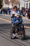 Rick and Dick Hoyt 2010. Inspirational father and son team Dick and Rick Hoyt competing in the 2010 Boston Marathon in Natick, MA Stock Photos