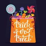 Rick-ou-festin Sac complètement des sucreries Affiche de vecteur de Halloween Photographie stock libre de droits
