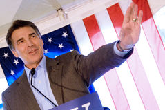 Rick Perry, American flag. Texas Gov. Rick Perry speaks at an Oct. 1, 2011, campaign event in Manchester, New Hampshire, during the New Hampshire primary Royalty Free Stock Image