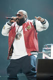 Rick Ross. SACRAMENTO, CA – December 1: Rick Ross performs in his MMG Tour featuring Machine Gun Kelly, Meek Mill, and Wale Folarin at Sleep Train Arena in Royalty Free Stock Image