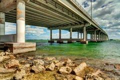 Rickenbacker Causeway Bridge. That connects Miami to Key Biscayne and Virginia Key Royalty Free Stock Photo