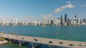Rickenbacker Causeway in Miami, Florida. Aerial view on a beautiful day.  royalty free stock image