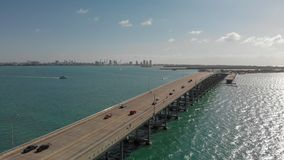 Rickenbacker Causeway in Miami, Florida. Aerial view on a beautiful day.  stock image