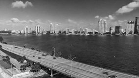 Rickenbacker Causeway in Miami, Florida. Aerial view on a beautiful day.  royalty free stock photo