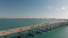 Rickenbacker Causeway in Miami, Florida. Aerial view on a beautiful day.  stock photos