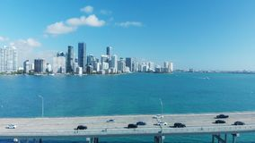 Rickenbacker Causeway in Miami, Florida. Aerial view on a beautiful day.  royalty free stock photography
