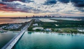 Rickenbacker droga na grobli widok z lotu ptaka, Miami obraz stock