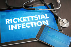 Rickettsial infection (infectious disease) diagnosis medical. Concept on tablet screen with stethoscope Stock Image