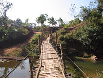 Rickety bridge. In northern laos stock image