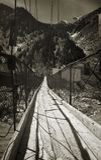 Rickety bridge (v). The abandon rickety suspension bridge Stock Photo