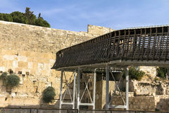 Rickety wooden bridge - the only way to the Temple Mount to Jews and Christians Royalty Free Stock Photo