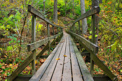 Rickety Wooden Foot Bridge Stock Image