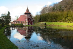 Rickford Church, Somerset. The church at Rickford reflected in the water, Somerset Royalty Free Stock Photography