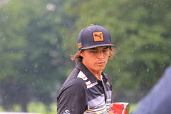 Rickie Fowler. Prepares to hit the ball at the country club golf course on the PGA Tour Royalty Free Stock Images