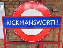 Rickmansworth stacji kolejowej znak obraz stock