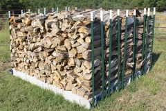 Ricks of seasoned firewood for stoves Stock Image