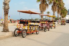 Rickshaw bicycle for rental for tourists parked near beach in San Vito Lo Capo. stock image