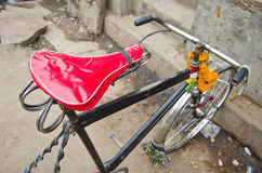 Rickshaw bicycle in Varanasi street, India Royalty Free Stock Images