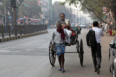 Rickshaw driver in Kolkata Royalty Free Stock Photo