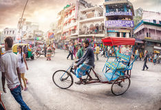 Rickshaw driver at Main Bazaar Stock Photo