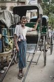 Rickshaw driver working in Calcutta, India Stock Photography