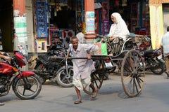 Rickshaw driver working, Kolkata Royalty Free Stock Photos