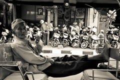 A rickshaw driver of Yogyakarta, Indonesia Royalty Free Stock Photo